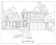 House drawing art illustrations 23 ideas for 2020 House Sketch, House Drawing, House Doodle, Cool Art Drawings, Drawing Art, House Colouring Pages, House Illustration, Art Illustrations, House Quilts