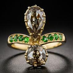 2.30 Carat Natural  Brown Diamond and Demantoid Garnet Ring - Lang Antiques