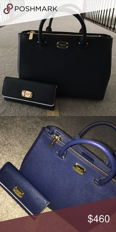 MK Kellen bag + jet set wallet Navy blue Michael Kors Kellen bag with jet set wallet. Over 400$ value. No trades , don't even ask 🙄. Everything is brand new but the gold hardware on the bag has some scuffs when bought. Michael Kors Bags Crossbody Bags