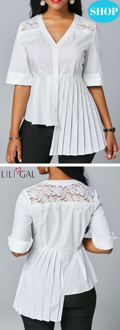 0068c1300479c USD32.06 V Neck Asymmetric Hem Pleated Blouse  liligal  blouse  tshirt Kurti