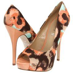 brown & peach print pumps!