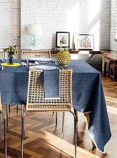 BORDERED DENIM WEAVE TABLECLOTH | Simons #maisonsimons #exclusivity #countryclub #nautical #kitchen #decor #tablecloth