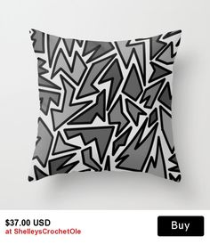 Pillow Cover - Cover Only - Black and Gray Abstract - Sofa Pillow - Bed Pillow - Decorative Pillow - ZigZag Art - Made t