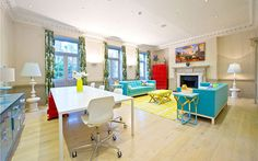 This year's BBC 'The Apprentice' candidates will be living in this eye watering property in Central London Creative Home, Ideal Home, Bold Colors, Cool Designs, London, Mansions, Living Room, Luxury, Bed