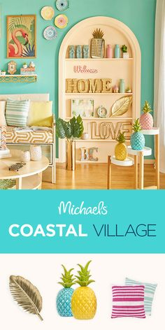 Easy, breezy, and pineapple accents galore - that's the vibe of the Coastal Village home décor trend. Shop the look and find more summer décor inspiration at Michaels. Coastal Homes, Coastal Decor, Coastal Interior, Coastal Colors, Tropical Decor, Interior Design, Coastal Living, Succulent Garden Diy Indoor, Colorful Succulents