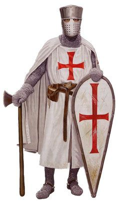 Knights Templar crus roja sobre vestido blanco This is how they looked after after Troyes when they became true monks Medieval Knight, Medieval Armor, Medieval Fantasy, Crusader Knight, Knight Armor, Knights Hospitaller, Knights Templar, Costume Français, Military Orders