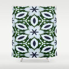 White African Daisy Kaleidoscope Print Shower Curtain by Celeste - $68.00  #blueandgreen