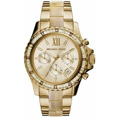 MICHAEL Michael Kors Women's Everest Chronograph Watch ($160) ❤ liked on Polyvore featuring jewelry, watches, accessories, bracelets, gold everest, chrono watch, crown jewelry, dial watches, water resistant watches and horn jewelry