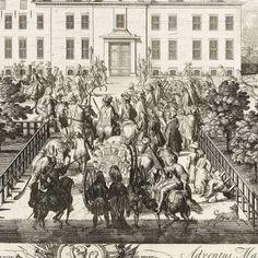 Aankomst van Willem III bij het jachtslot Hof te Dieren, 1691, Pieter Schenk (I), Staten van Holland en West-Friesland, 1691 - Rijksmuseum