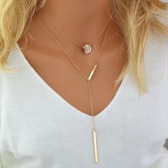 Personalized Disc Necklace, Delicate Y Necklace Layered, Monogram Layering Necklace, Dainty Lariat Necklace Personalized, Rose Gold Necklace