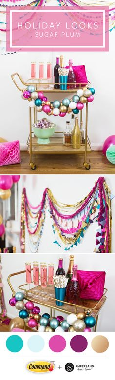 Get ready to pop the champagne with a sparkly holiday decorating trend like Sugar Plum by Command™ Brand and Ampersand Design Studio. This pastel holiday look is a refreshing and glittery twist on traditional holiday color palettes that mixes a spectrum of lighter hues with all kinds of metallics. Decorate your bar cart with a DIY ornament garland and adorn your wall with it, too. http://go.3M.com/SugarPlumHolidaybyCommand