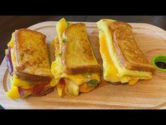 One Pan Egg Toast - Three Ways   Korean Style French Toast Omelette   Breakfast Egg Recipes - YouTube Breakfast Omelette, Breakfast Toast, Egg Recipes For Breakfast, Snack Recipes, Cooking Recipes, Solo Pizza, Brunch, Egg Toast, Egg Sandwiches
