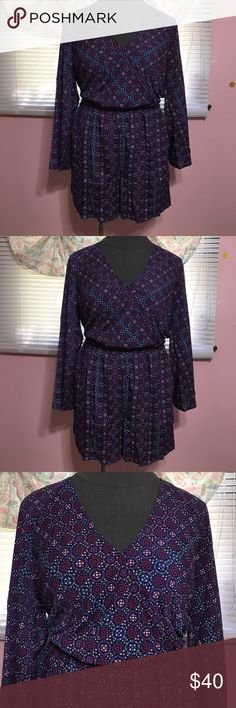 NWT Lane Bryant romper NWT Lane Bryant long sleeve romper. Surplice neckline, elastic waistline, has pockets!!!!! Light weight dressy fabric, would be adorable with booties. Size 16 Lane Bryant Pants Jumpsuits & Rompers