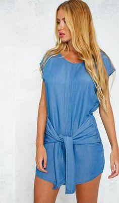 Vestido Casual com Amarração na Cintura - Compre Online