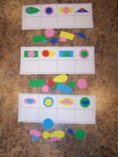 Logical thinking game w/foam shapes
