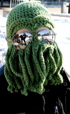 My mom crochets me and my siblings awesome slippers for winter.  This year I think I'll be asking for one of these Cthulhu mask/hat thingys instead.