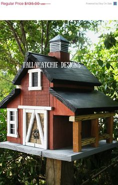 Rustic Barn Birdhouse by TallahatchieDesigns on Etsy