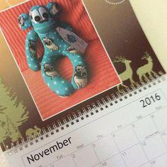 Happy November not long off Christmas #November #happymonth #sockmonkeys #sewing #handmade #calendar #2016 #sunnyteddys