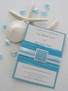 Seashell Beach themed blue wedding Invitation by BertoliBridal, $6.00