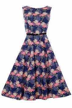 Retro Hepburn jurk met Flamingos