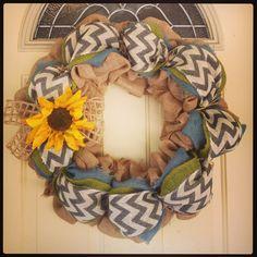 Chevron burlap wreath for fall!