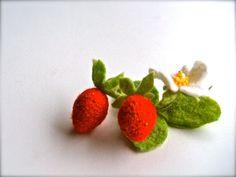 Felt brooch Strawberries  Handmade brooch  Wool brooch by jurooma