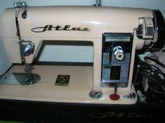 Vintage Sewing Machine Pink Atlas by BurlapNation on Etsy, $99.00