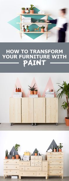 If you're looking to spruce up an old piece of furniture, you don't have to spend a bomb. Get creative and paint bold shapes onto the wall behind, you'll end up with something truly unique.
