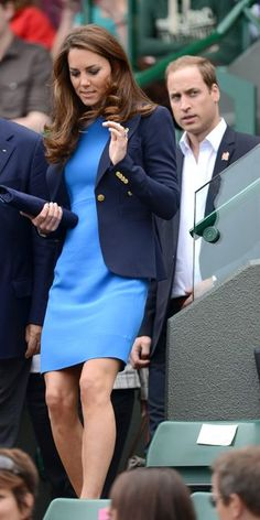 AUGUST 2, 2012 The Duchess returned to her Stella McCartney cobalt shift dress (the same one she wore two weeks prior) and her go-to Smythe blazer to watch Andy Murray's Olympic tennis match at Wimbledon.