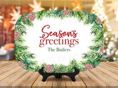Seasons Greetings Personalized Melamine Platter | Christmas | Holiday | Choose Your Phrase by PaintingParisPink on Etsy