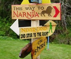 Give your garden a fun whimsical touch by decorating it using these fantasy land destination signs. Simply place it somewhere in your yard and you'll know the vague directions needed to travel off to your favorite fictional lands like Narnia and Neverland Narnia, Dragonfly Decor, Directional Signage, Garden Signs, Nursery Wall Decor, Garden Art, Whimsical, Diy And Crafts, Projects To Try