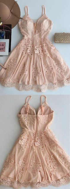 A-Line Spaghetti Straps Prom Dresses,Short Tulle Homecoming Dress with Appliques OK493 #short #straps #homecoming #appliques #teens #okdresses Cute Homecoming Dresses, A Line Prom Dresses, Short Bridesmaid Dresses, Tight Dresses, Sexy Dresses, Dress Prom, Pink Dresses, Party Dress, Cheap Dresses
