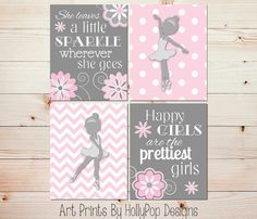 Ballerina Nursery Wall Décor - Pink Gray Toddler Girls Room Wall Art - Set of 4 Prints - She leaves a Little Sparkle Set of 4 Prints designed