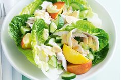 Poached chicken and nectarine salad Nectarine Salad, Mango Curry, Gluten Free Recipes, Healthy Recipes, Poached Chicken, Chicken Salad Recipes, Coleslaw, Food To Make, Poultry