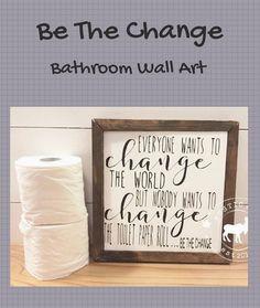 Bathroom Wood Sign, Funny Bathroom , Toilet Paper Roll bathroom wall art and decor - Wall Art Bathroom Wall Art, Bathroom Humor, Laundry In Bathroom, Bathroom Signs, Master Bathroom, Bathroom Ideas, Ikea Bathroom, Country Farmhouse Decor, Rustic Wood Signs