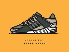 Vector illustration of the green suede EQTs!  .  .  .  Follow me on Instagram =]