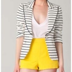 Yellow hot pants and stripes!