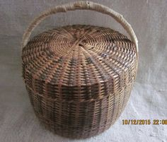 VintageHand Woven Folk Art  Sewing Basket by angelinabella on Etsy
