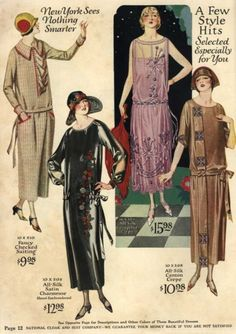 Day and evening dresses, 1924 US, The National Suit & Cloak Co Catalogue