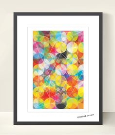 Geometric Art Poster illustration, Circles Triangles Wall Decor. Tangram Abstract Art. Modern Print A3, Geometric Shapes