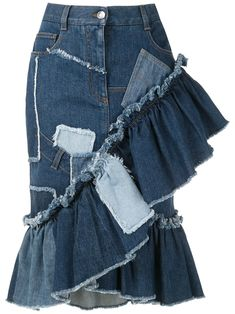 Dolce & Gabbana Patchwork Denim Skirt In Blau Thrift Store Outfits, Thrift Store Refashion, Fashion Line, Denim Fashion, Fashion Outfits, Sweater Refashion, Recycled Fashion, Recycled Denim, Recycled Clothing