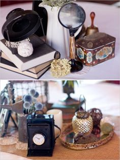 Eclectic vintage centerpieces from knick knacks found at antique stores. Captured By: Stephanie N. Baker ---> http://www.weddingchicks.com/2014/06/06/funky-finds-turned-into-surprising-centerpieces/