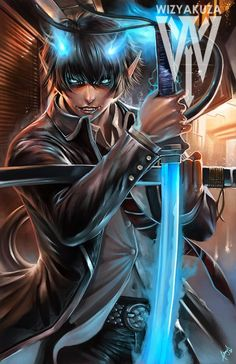 Rin Okumura - Blue Exorcist - 11 x 17 Digital Print Ao No Exorcist, Blue Exorcist Anime, Blue Exorcist Cosplay, Rin Okumura, Manga Anime, Anime Guys, Anime Sexy, Wizyakuza Anime, Super Anime