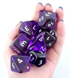 RPG Dice Set (Giant 35mm Translucent Purple) role playing game dice