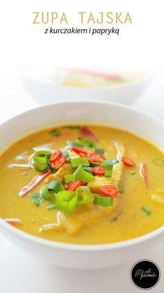 Tajska zupa z kurczakiem Thai Recipes, Soup Recipes, Diet Recipes, Recipies, Thai Red Curry, Food And Drink, Tasty, Lunch, Cooking