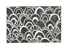 Linolschnitt Drucken marokkanische Scallop Muster 4 von printwork