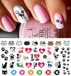 I Love My Cat Kitten Paw Prints Water Slide Nail Art Decals- Salon Quality 5.5' X 3' Sheet! ** Continue to the product at the image link.