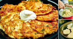 Potato fritters with sour cream. Potato Dishes, Potato Recipes, Healthy Diet Recipes, Cooking Recipes, Czech Recipes, Ethnic Recipes, Homemade Sour Cream, Potato Juice, Potato Fritters