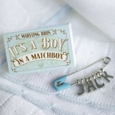 Personalised Nappy Pin Keepsake For Baby Boy - keepsakes Newborn Baby Boy Gifts, New Baby Gifts, Cute Baby Shower Ideas, Baby Boy Shower, Baby Ideas, Baby Showers, Gifts For New Parents, Gifts For Boys, Get Well Soon Gifts