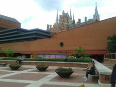 St Pancras rises from behind the British Library, 30 July 2015